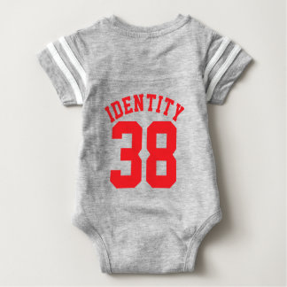 Backside Gray & Red Baby | Sports Jersey Design Baby Bodysuit