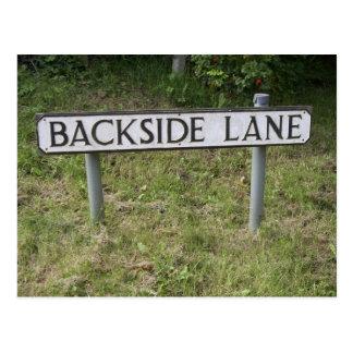 Backside Lane, Funny & Rude Place Sign Postcard. Postcard