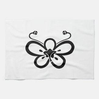 Backside-view shadowed butterfly-shaped ume kitchen towel