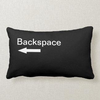 Backspace Computer Key (Black) Lumbar Pillow