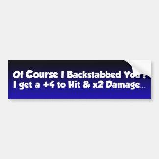 backstab bumper sticker