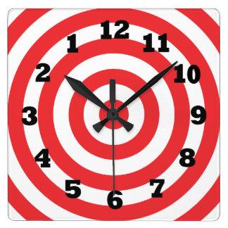 Backwards Bulls eye Square Wall Clock
