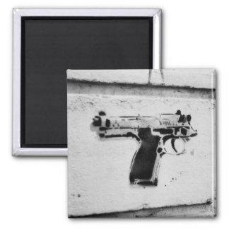backwards gun stencil graffiti art fridge magnet