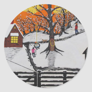 Backwoods Cabin Classic Round Sticker