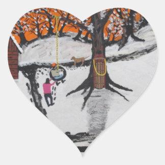 Backwoods Cabin Heart Sticker