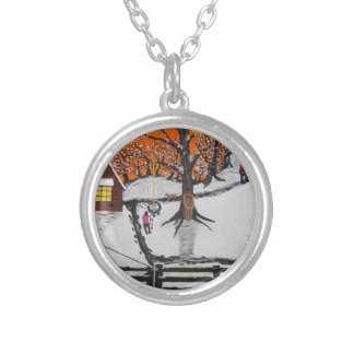 Backwoods Cabin Silver Plated Necklace