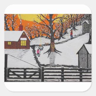 Backwoods Cabin Square Sticker