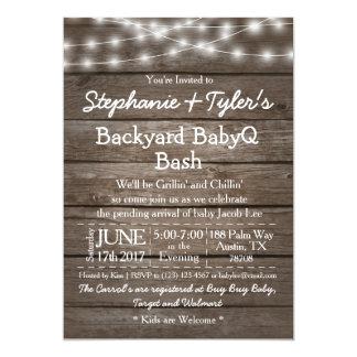 Backyard BabyQ Bash Lights Wood Rustic Baby Shower Card