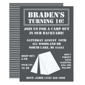 Backyard Campout Birthday Invitation