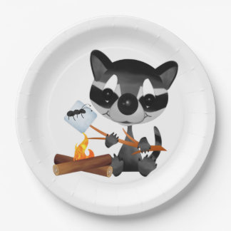 Backyard Campout With Cute Raccoon Paper Plate