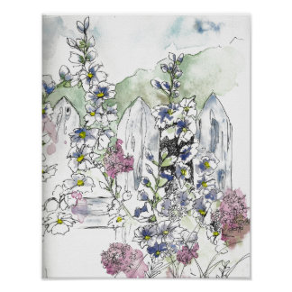 Backyard Flowers with a White Picket Fence Poster