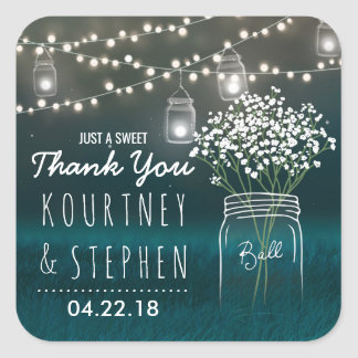 Backyard Mason Jar Baby Breath Wedding | Lights Square Sticker
