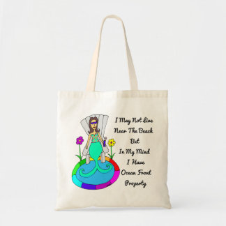 "Backyard Mermaid ""I May Not Live At The Beach..."" Tote Bag"