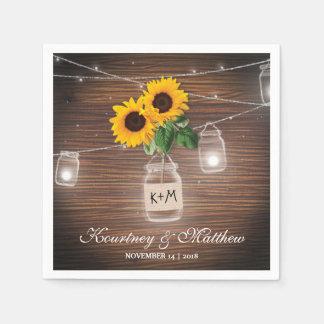 Backyard Rustic Mason Jar Sunflower Lights Wedding Paper Napkin