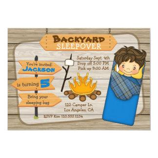 Backyard Sleepover Birthday Party Invitation
