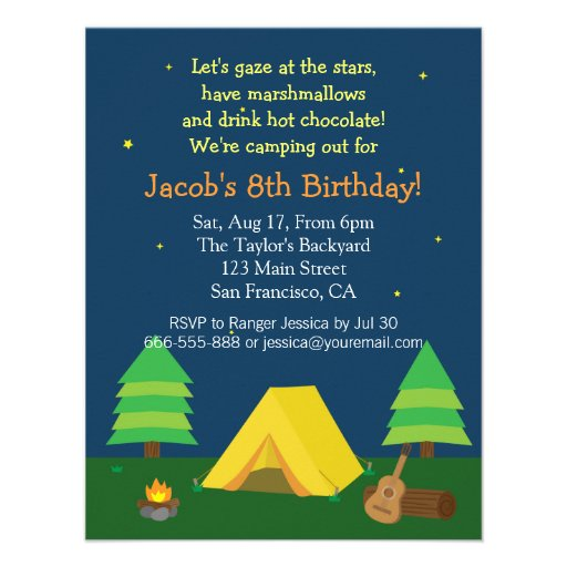 Backyard Sleepover Camping Birthday Party For Boys Personalized Invitation