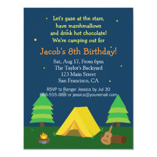 Backyard Sleepover Camping Birthday Party For Boys 4.25x5.5 Paper Invitation Card