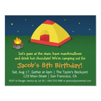 Backyard Sleepover Camping Birthday Party Personalized Announcements
