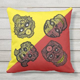 BACKYARD SUGAR SKULLS by Slipperywindow Throw Pillow