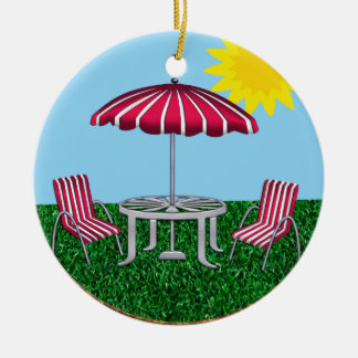 Backyard Summer Relaxing Ceramic Ornament