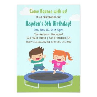 Backyard Trampoline Kids Birthday Party Card