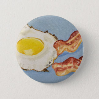 Bacon and Egg Breakfast painting 2 Inch Round Button