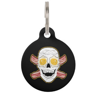 Bacon and Egg Skull Pet Name Tag