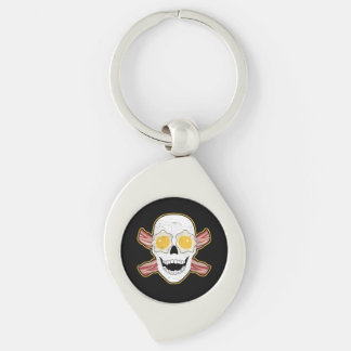 Bacon and Egg Skull Silver-Colored Swirl Keychain