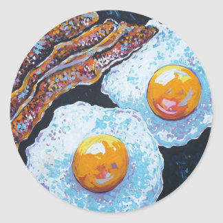 BACON AND EGGS IN A PAN ROUND STICKER
