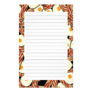 Bacon and Eggs Pattern Stationery Design
