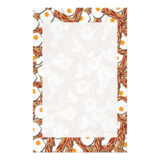 Bacon and Eggs Pattern Personalized Stationery