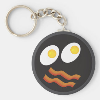 bacon and eggs smiley face basic round button keychain