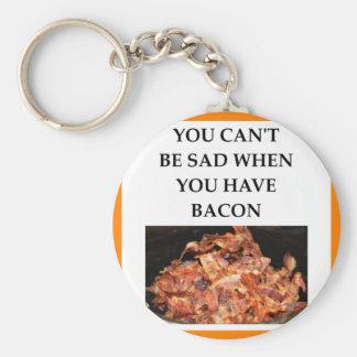 bacon basic round button keychain