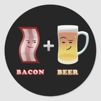 Bacon & Beer Are Up To Something (black bkgd) Classic Round Sticker
