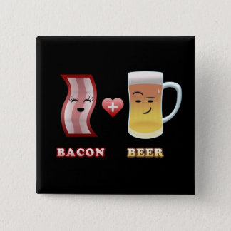 Bacon + Beer In Love (black bkgd) 2 Inch Square Button