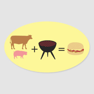 Bacon Burger Recipe Oval Sticker