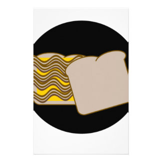 Bacon & cheese sandwich customized stationery