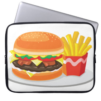 """bacon cheeseburger with fries 15"""" laptop sleeve"""