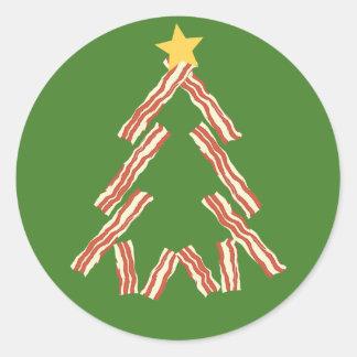 Bacon Christmas Tree Round Sticker