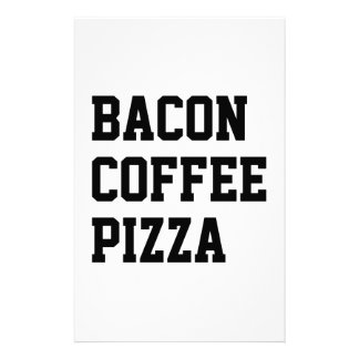 Bacon Coffee Pizza Customized Stationery