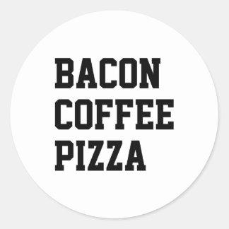 Bacon Coffee Pizza Round Sticker