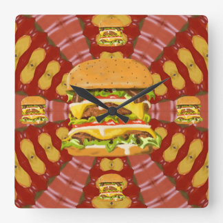 Bacon Double Cheese Burger Square Wall Clock