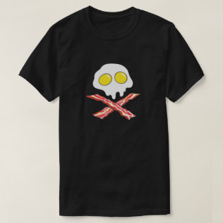 Bacon Egg Skull Crossbones Pork Lover Breakfast T-Shirt