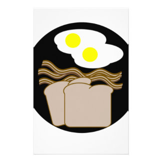 Bacon eggs toast personalized stationery