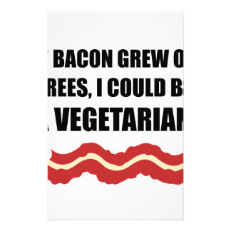 Bacon Grew Trees Vegetarian Stationery Paper