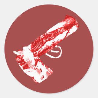 Bacon Gun Round Stickers