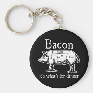 Bacon: It's what's for dinner. Basic Round Button Keychain