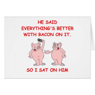 bacon joke greeting card
