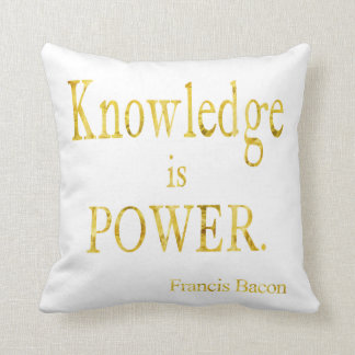 Bacon Knowledge is Power Quote Gold Faux Glitter Throw Pillow