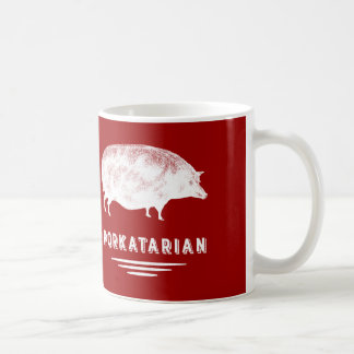 Bacon Lover Porkatarian Vintage Pig Red and White Coffee Mug